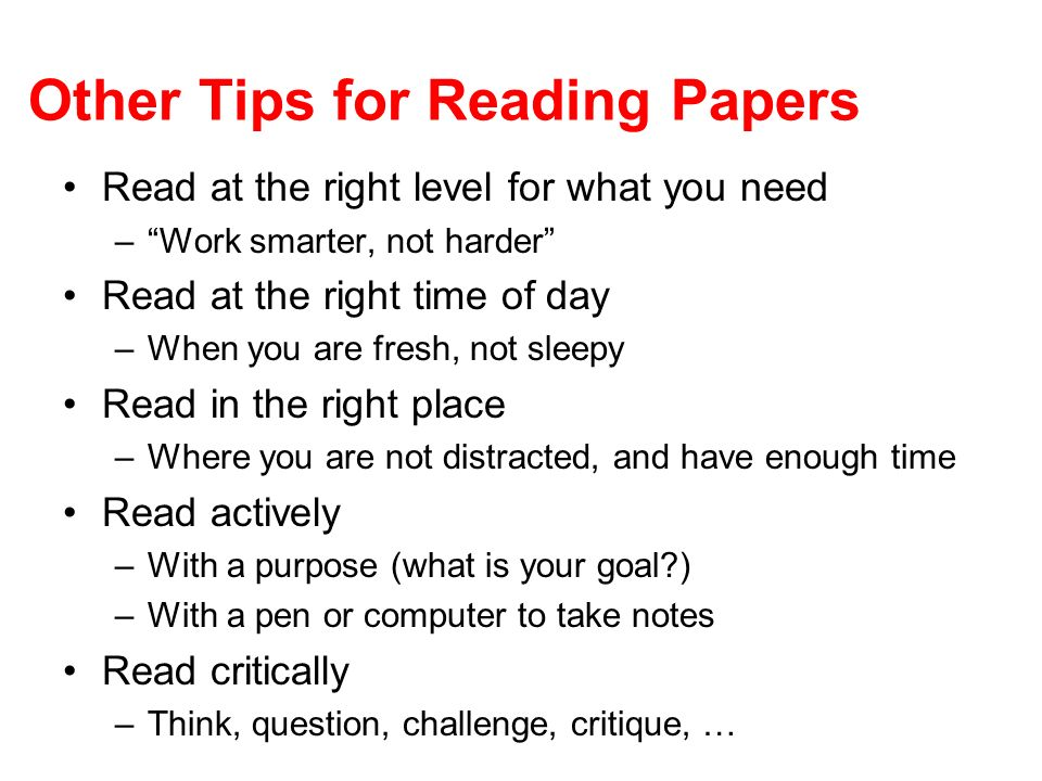 Other Tips for Reading Papers