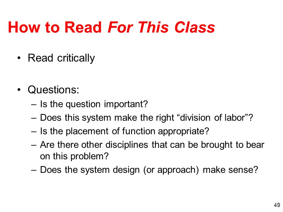 How to Read For This Class