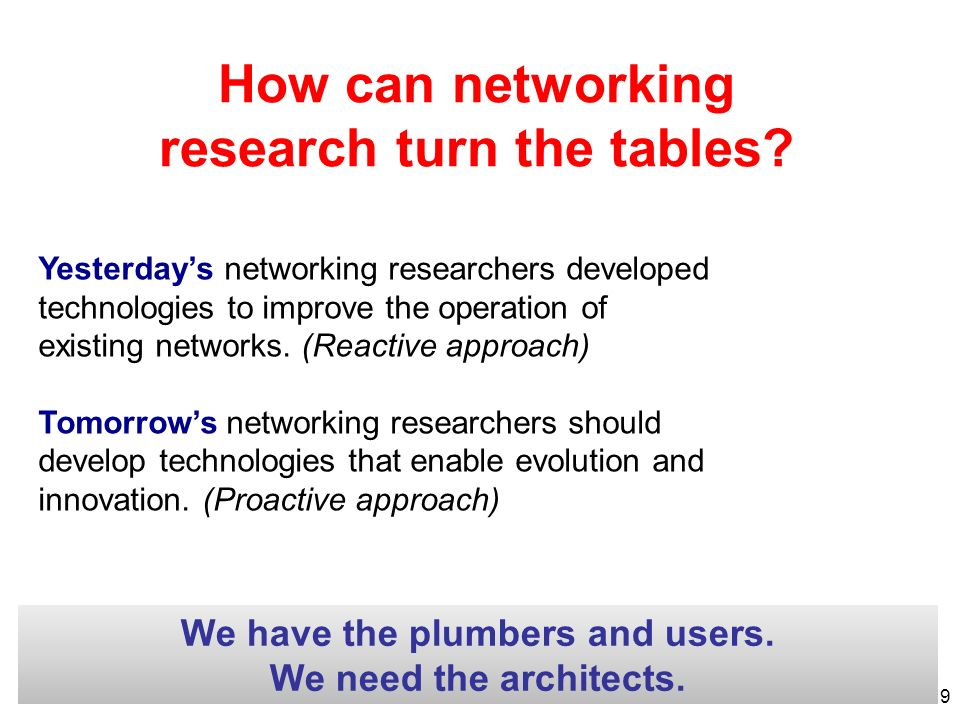 How can networking research turn the tables