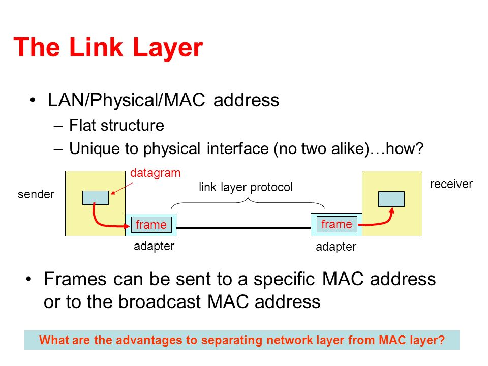 What are the advantages to separating network layer from MAC layer