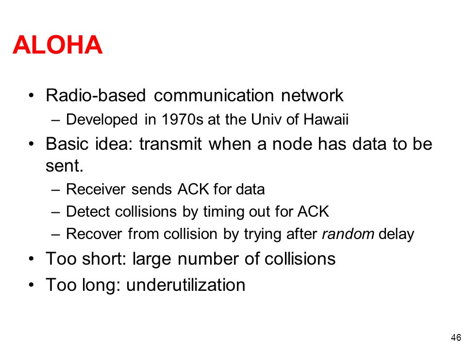 ALOHA Radio-based communication network