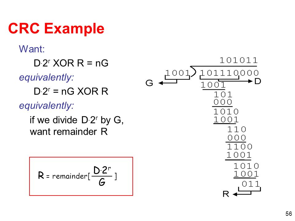 CRC Example Want: D.2r XOR R = nG equivalently: D.2r = nG XOR R