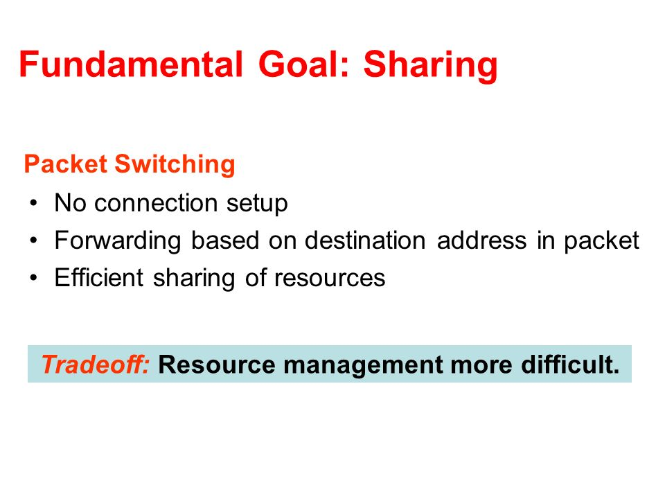 Fundamental Goal: Sharing