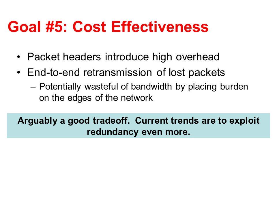 Goal #5: Cost Effectiveness