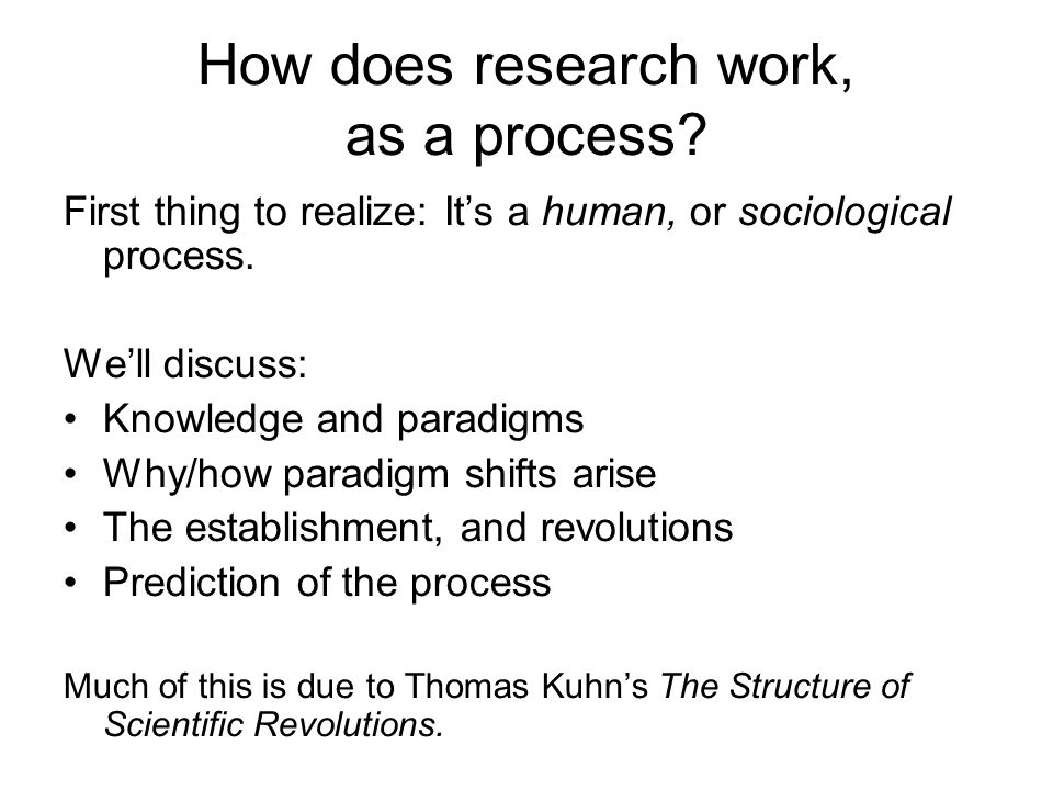 How does research work, as a process