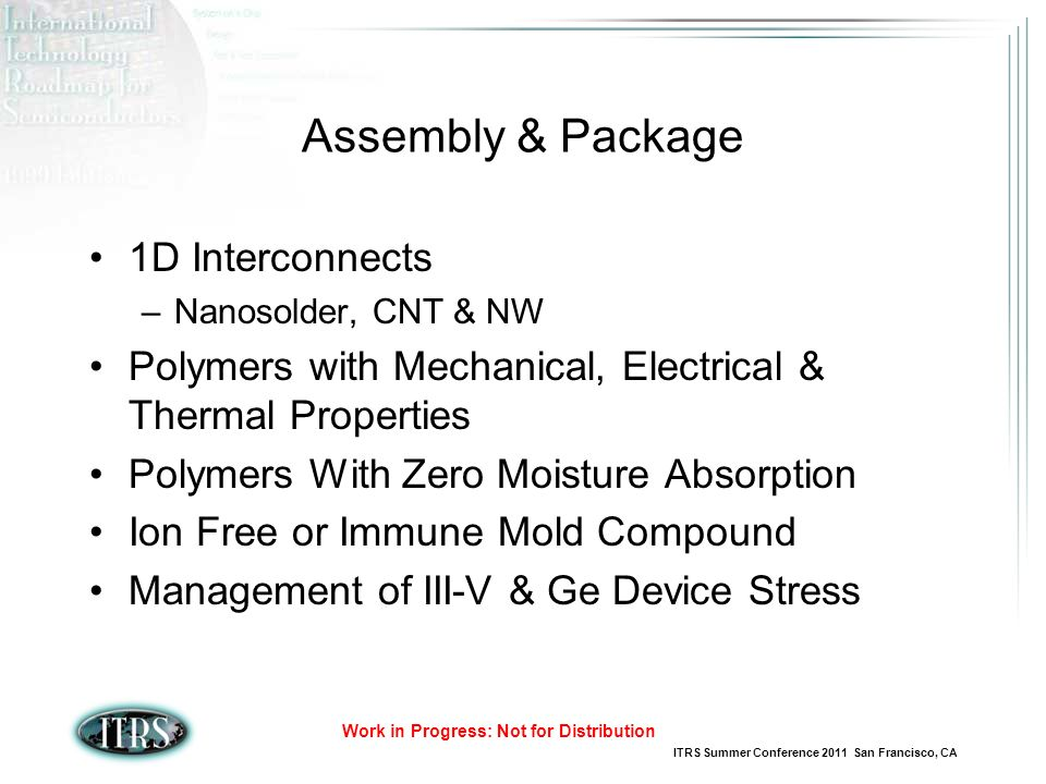Assembly & Package 1D Interconnects