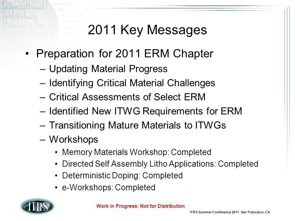 2011 Key Messages Preparation for 2011 ERM Chapter