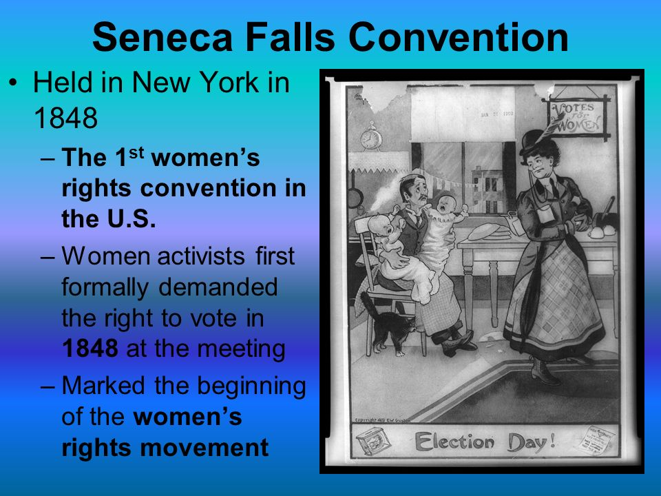 a review of the first womens rights movement Elizabeth cady stanton and the first woman's rights convention  the 1848  seneca falls convention and the beginning of the us women's rights  movement.