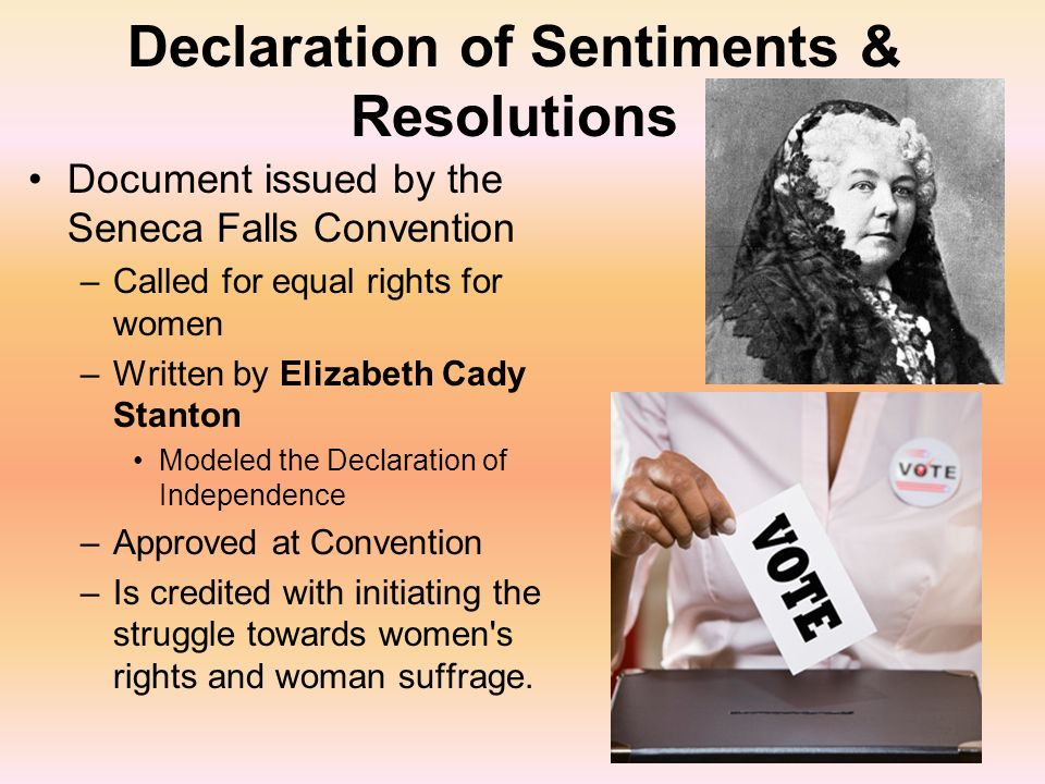 differences between declaration of independence and seneca falls resolutions The declaration of sentiments and the resolutions adopted by the seneca falls convention is hailed for its groundbreaking demands—like insisting that men be held to the same moral standards as.