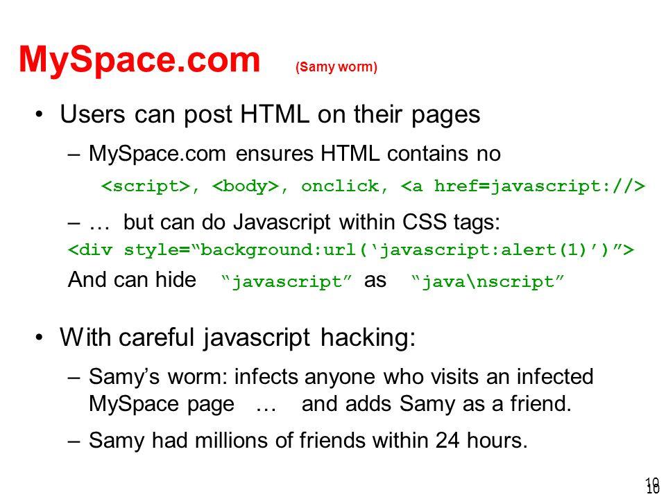 MySpace.com (Samy worm)
