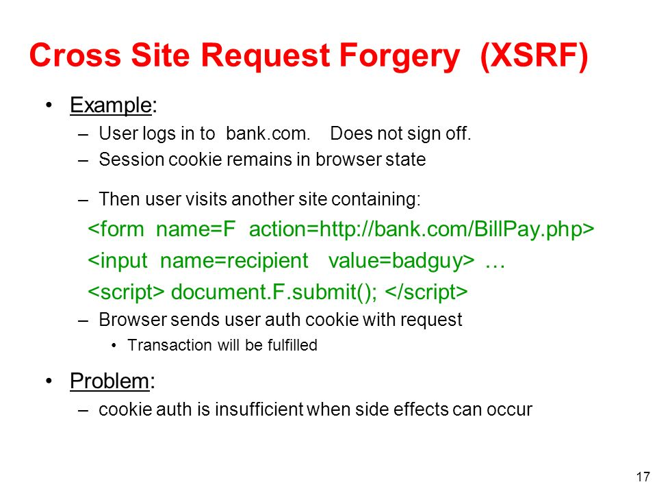 Cross Site Request Forgery (XSRF)
