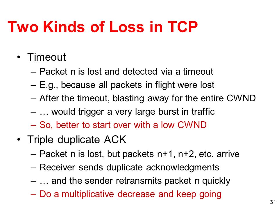 Two Kinds of Loss in TCP Timeout Triple duplicate ACK