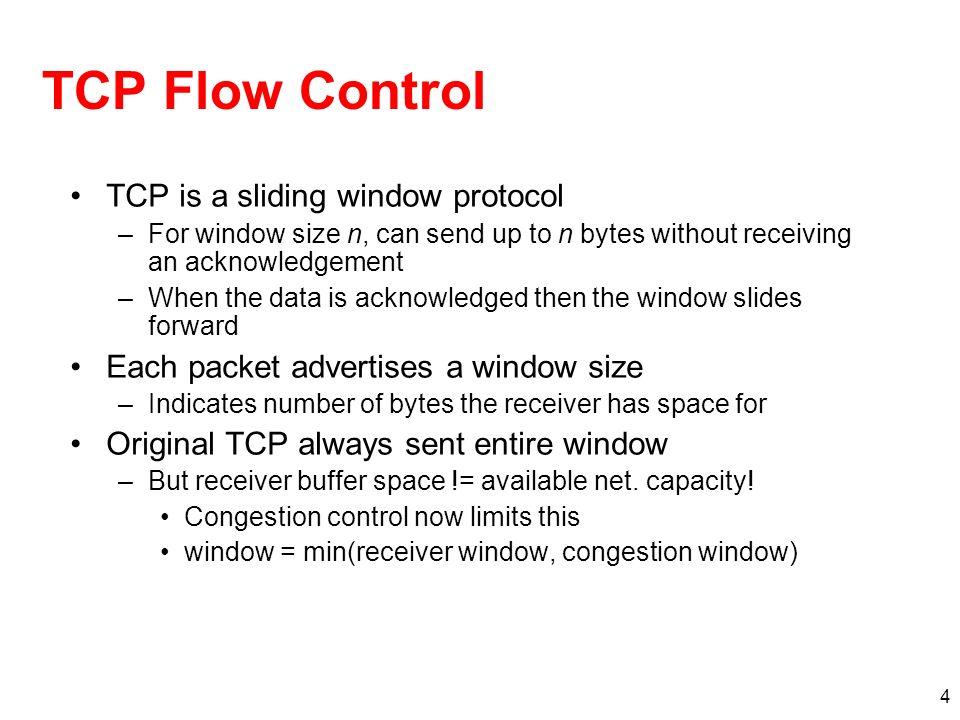 TCP Flow Control TCP is a sliding window protocol