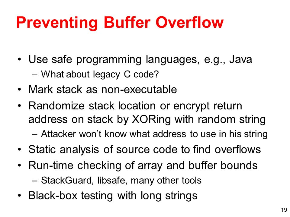 Preventing Buffer Overflow