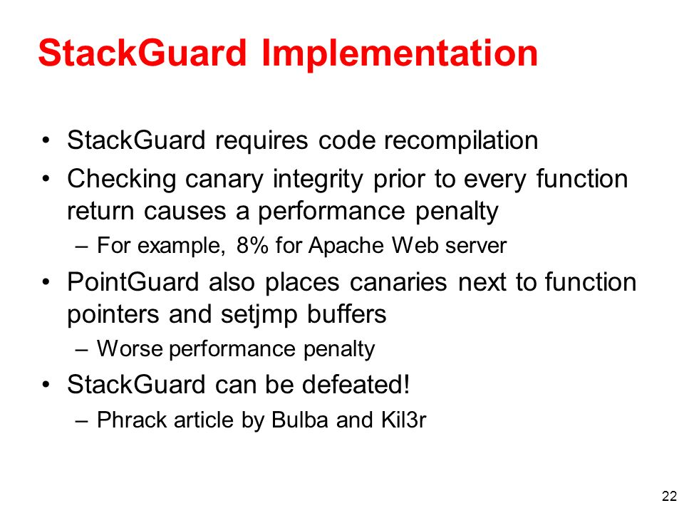 StackGuard Implementation