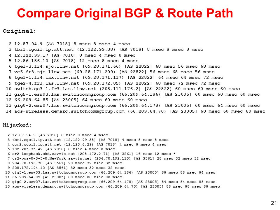 Compare Original BGP & Route Path