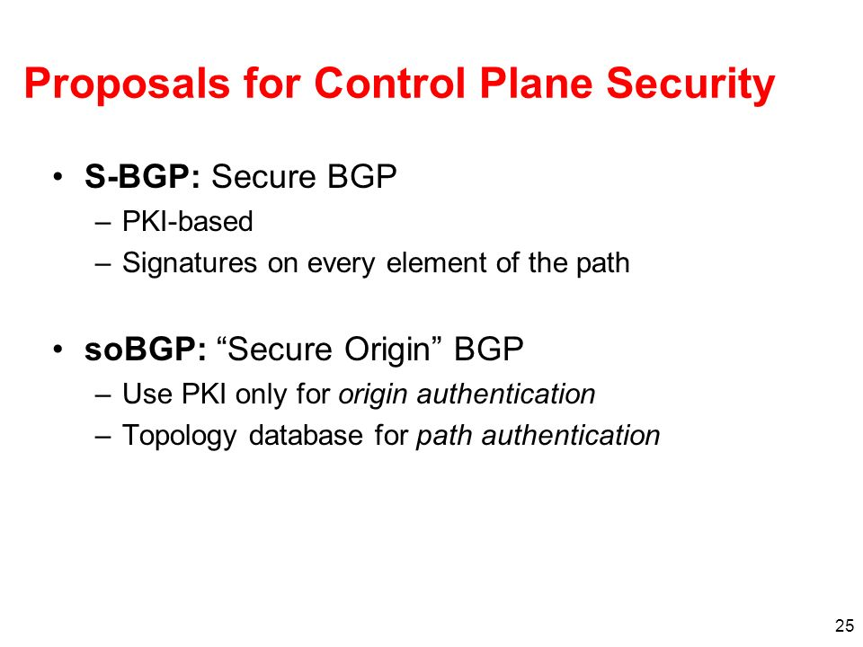 Proposals for Control Plane Security