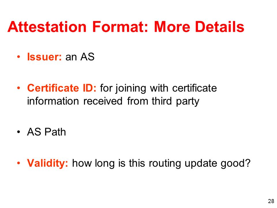 Attestation Format: More Details