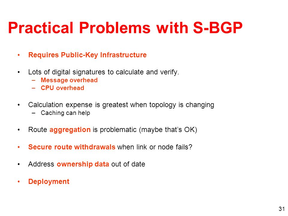Practical Problems with S-BGP