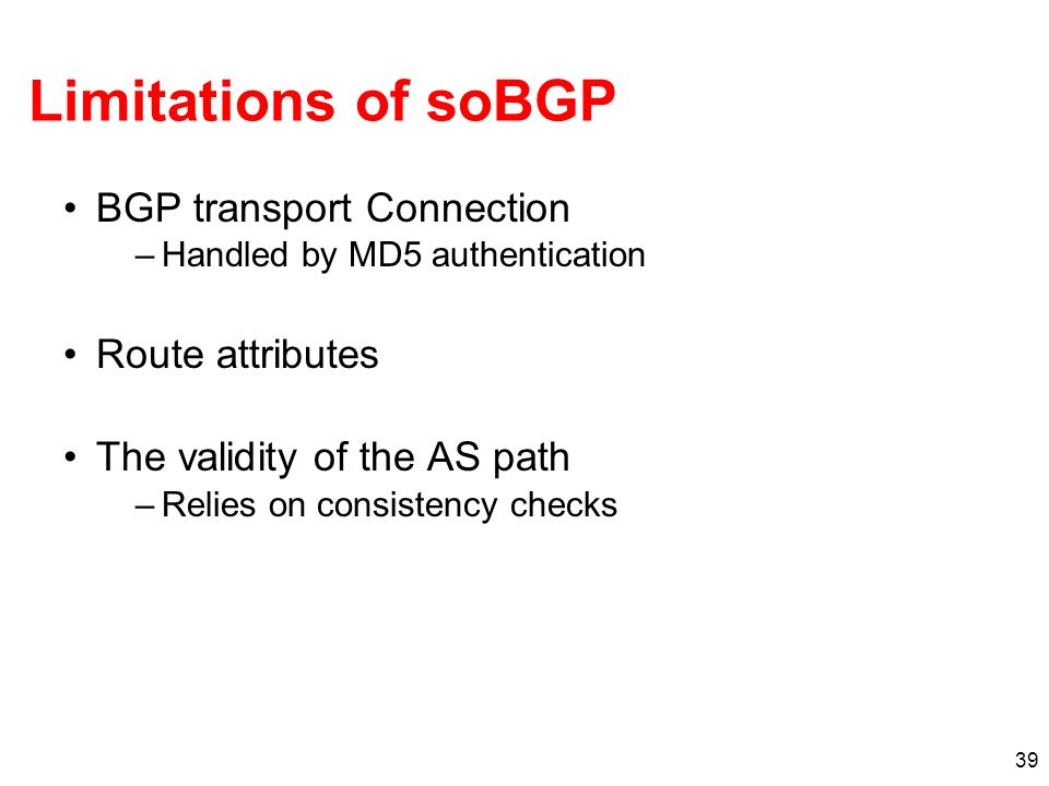 Limitations of soBGP BGP transport Connection Route attributes