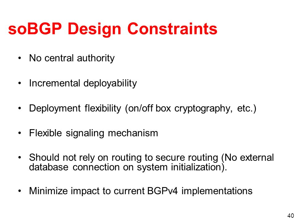 soBGP Design Constraints