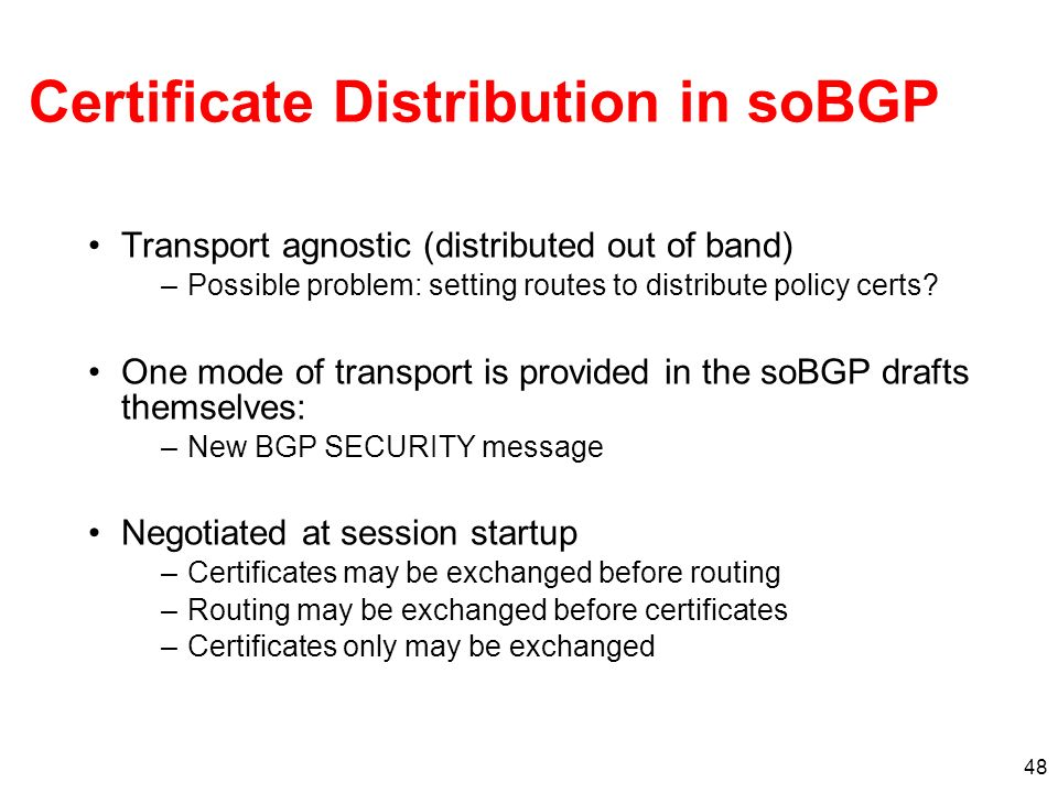 Certificate Distribution in soBGP