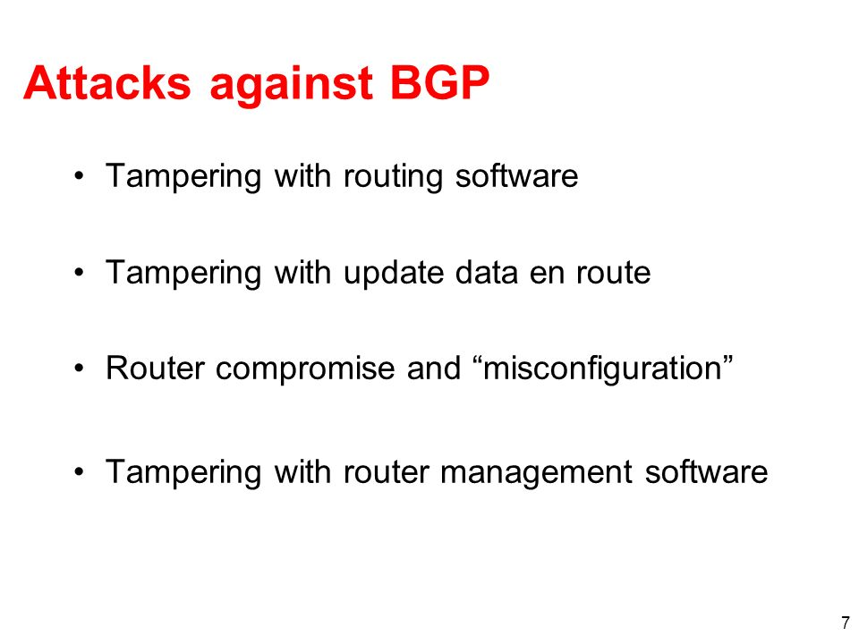 Attacks against BGP Tampering with routing software