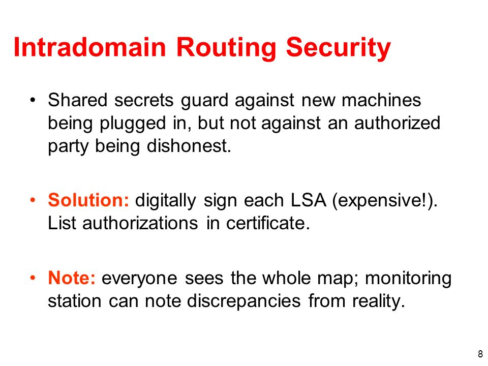Intradomain Routing Security