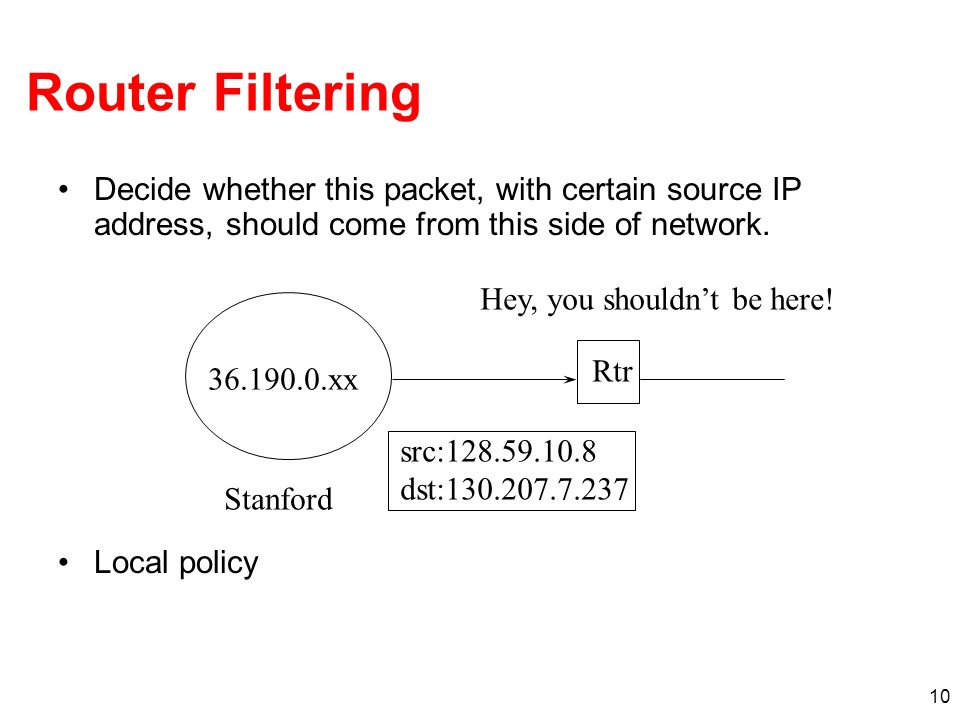 Router Filtering Decide whether this packet, with certain source IP address, should come from this side of network.
