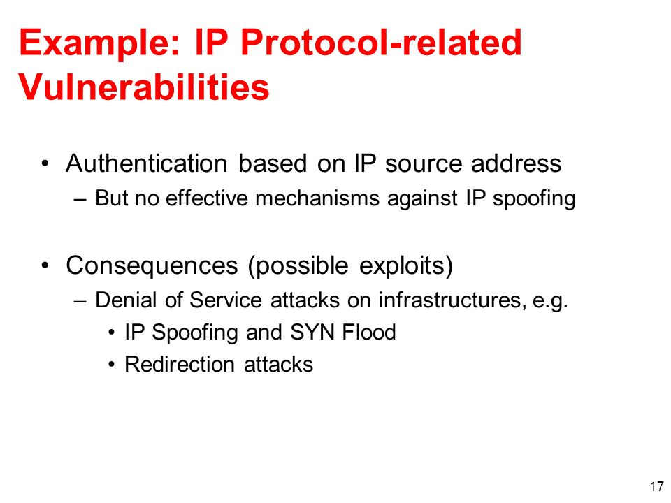 Example: IP Protocol-related Vulnerabilities