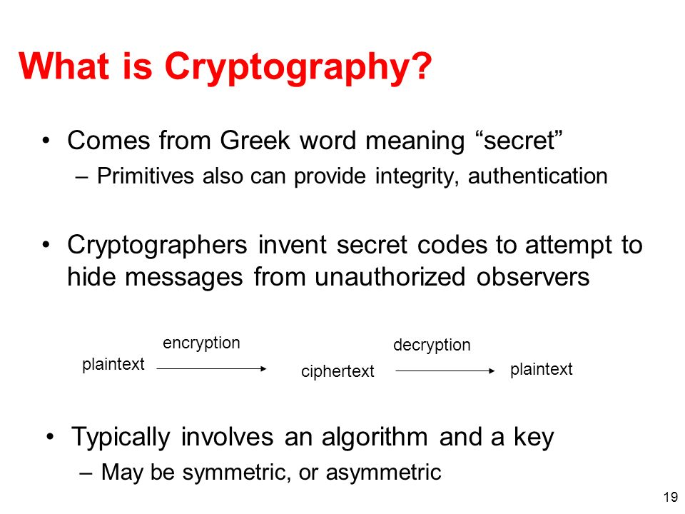 What is Cryptography Comes from Greek word meaning secret