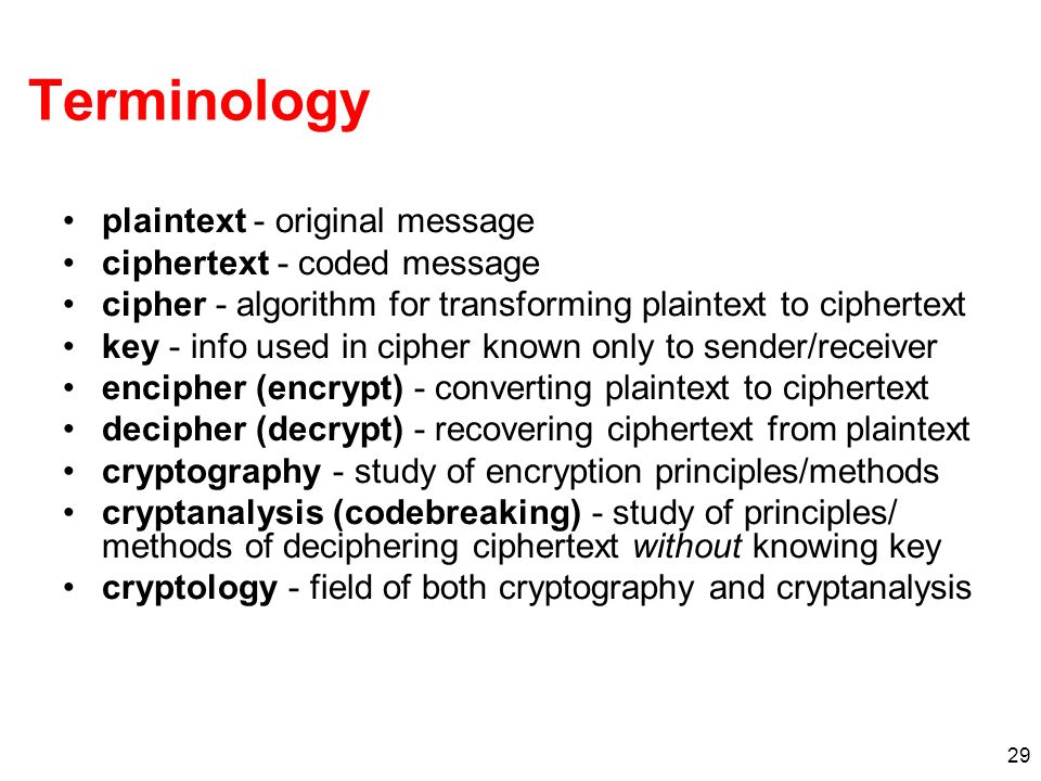 Terminology plaintext - original message ciphertext - coded message