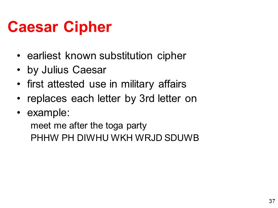 Caesar Cipher earliest known substitution cipher by Julius Caesar