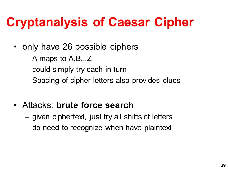 Cryptanalysis of Caesar Cipher