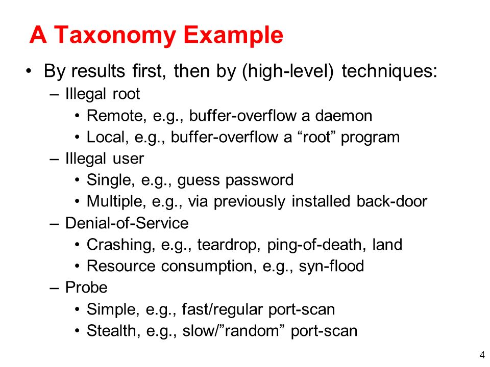 A Taxonomy Example By results first, then by (high-level) techniques: