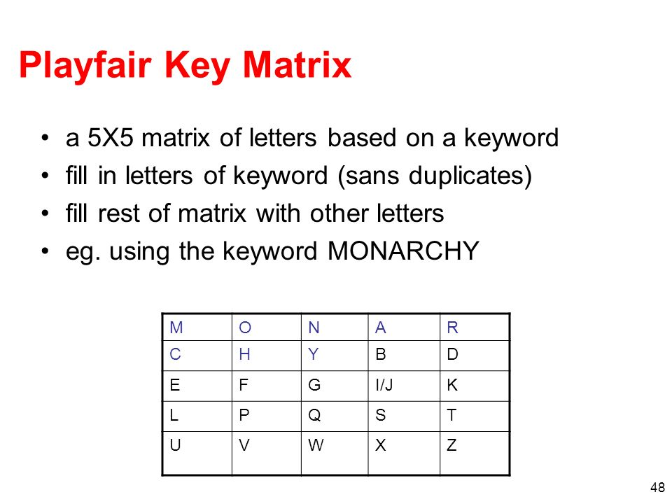 Playfair Key Matrix a 5X5 matrix of letters based on a keyword