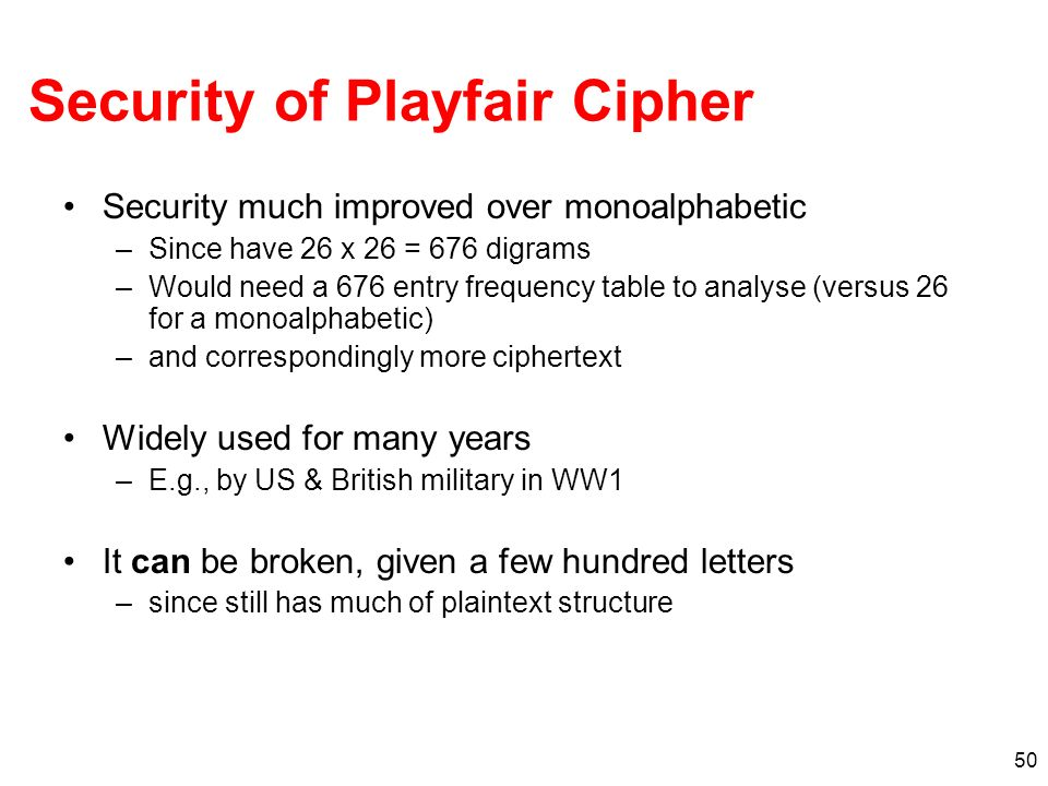 Security of Playfair Cipher
