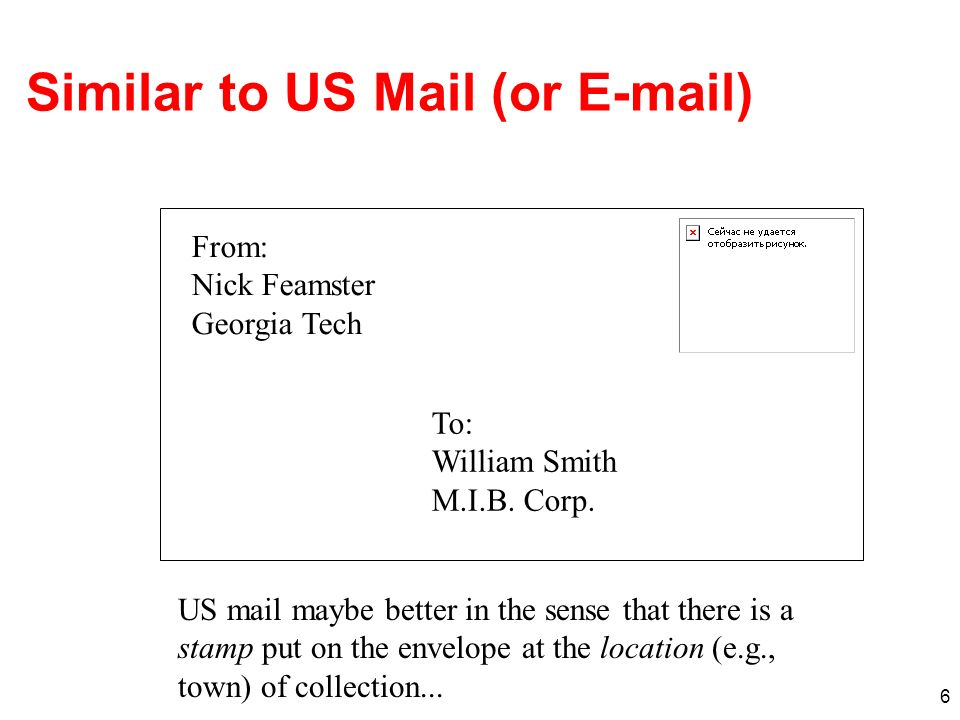 Similar to US Mail (or E-mail)