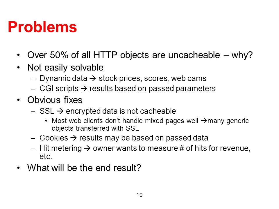 Problems Over 50% of all HTTP objects are uncacheable – why