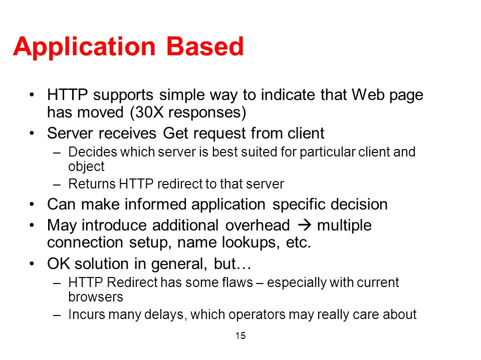 Application Based HTTP supports simple way to indicate that Web page has moved (30X responses) Server receives Get request from client.