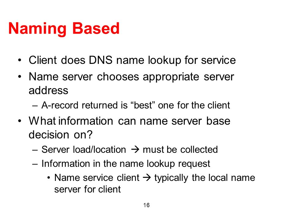 Naming Based Client does DNS name lookup for service