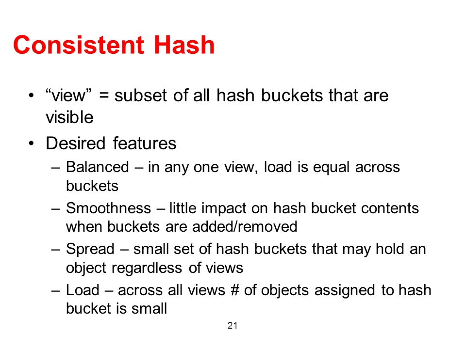 Consistent Hash view = subset of all hash buckets that are visible