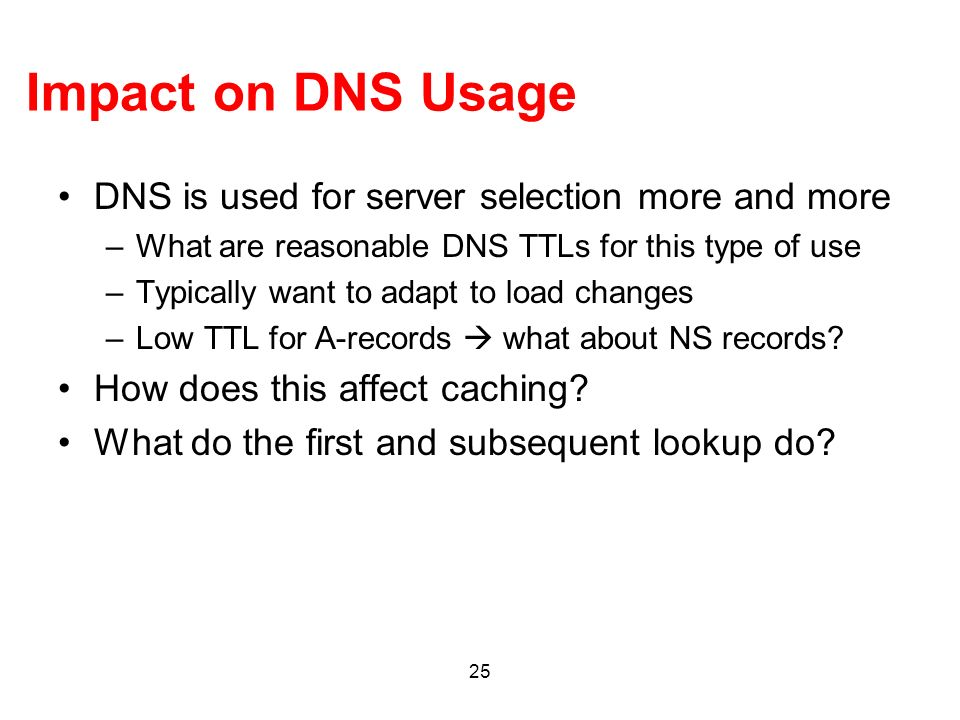 Impact on DNS Usage DNS is used for server selection more and more