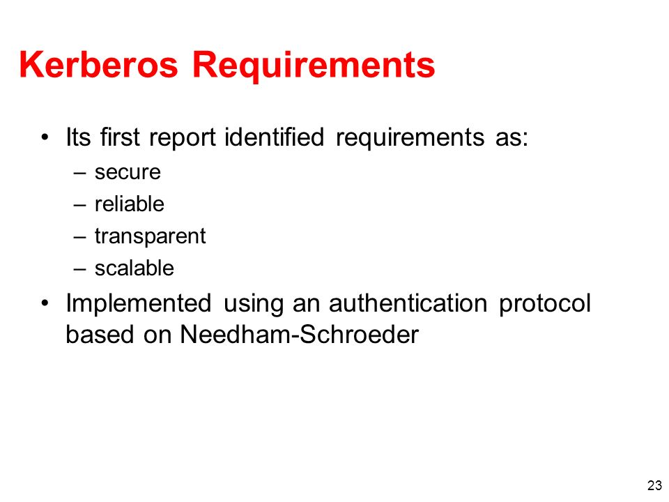 Kerberos Requirements