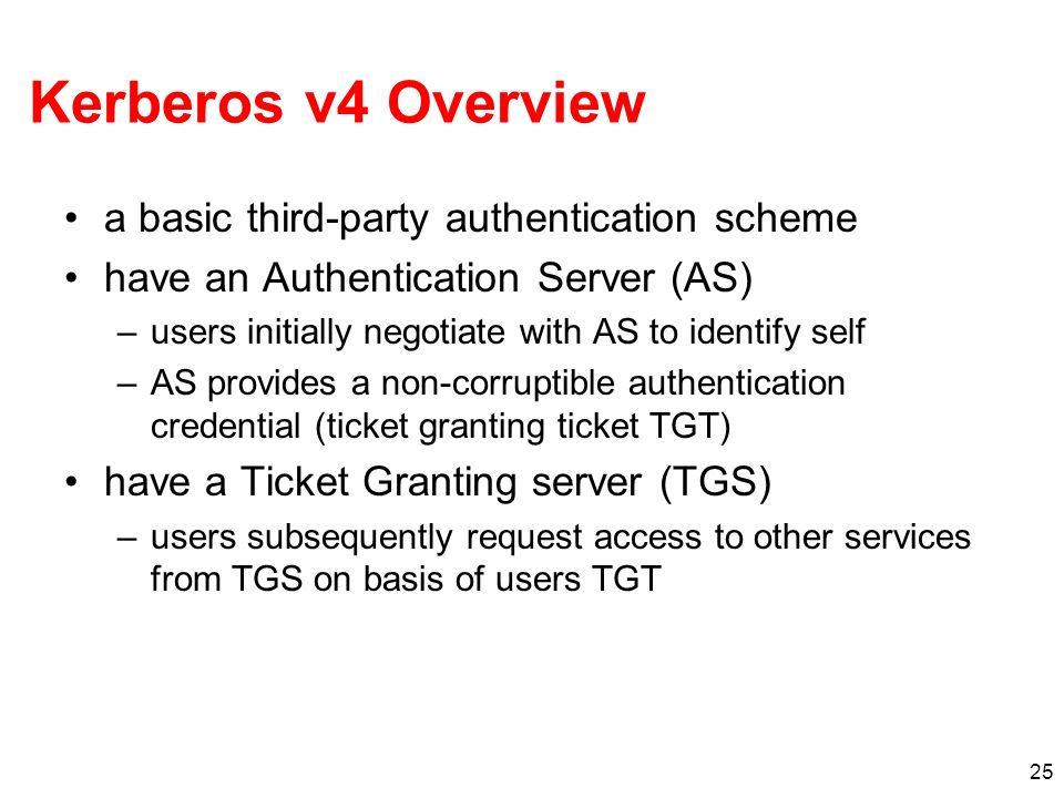 Kerberos v4 Overview a basic third-party authentication scheme
