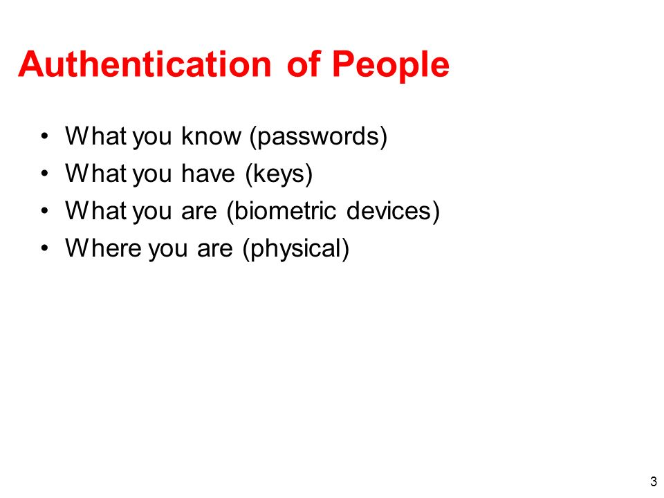Authentication of People
