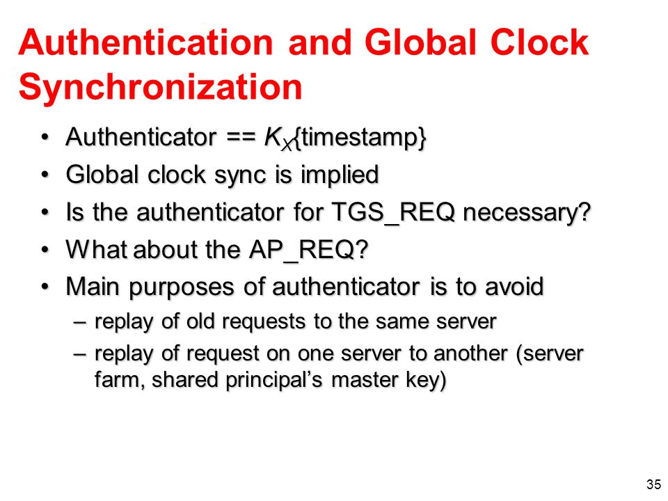 Authentication and Global Clock Synchronization
