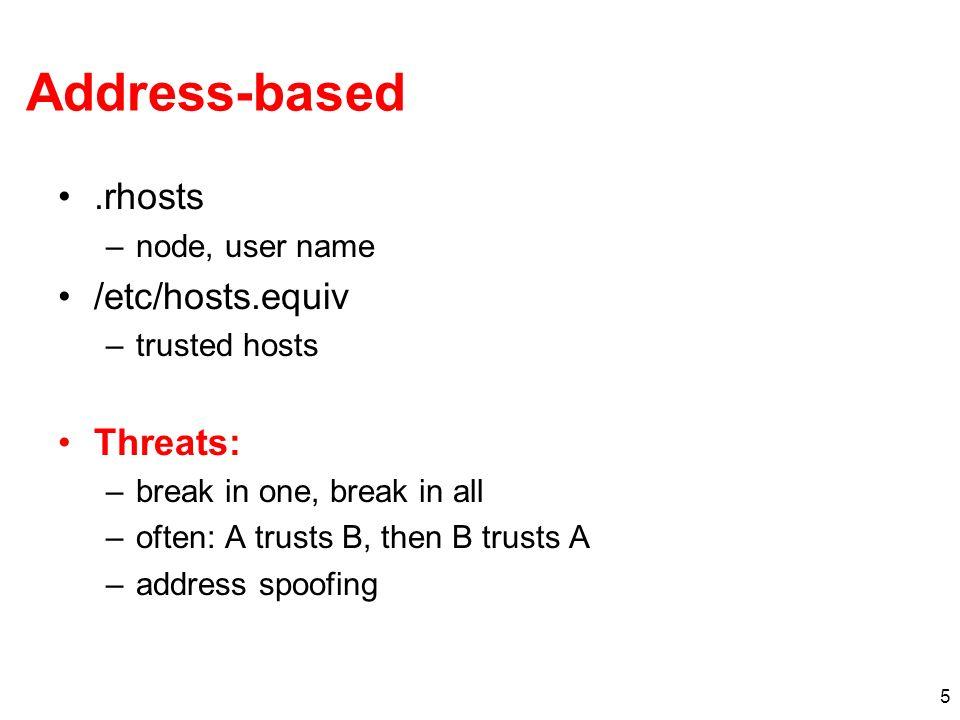 Address-based .rhosts /etc/hosts.equiv Threats: node, user name
