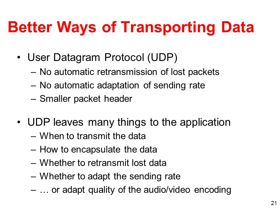 Better Ways of Transporting Data